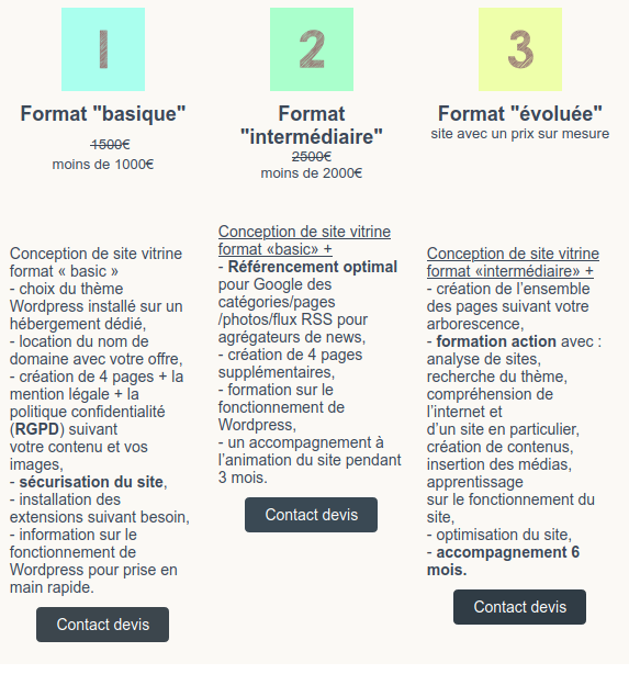 3 formules t-touzet conception de site web